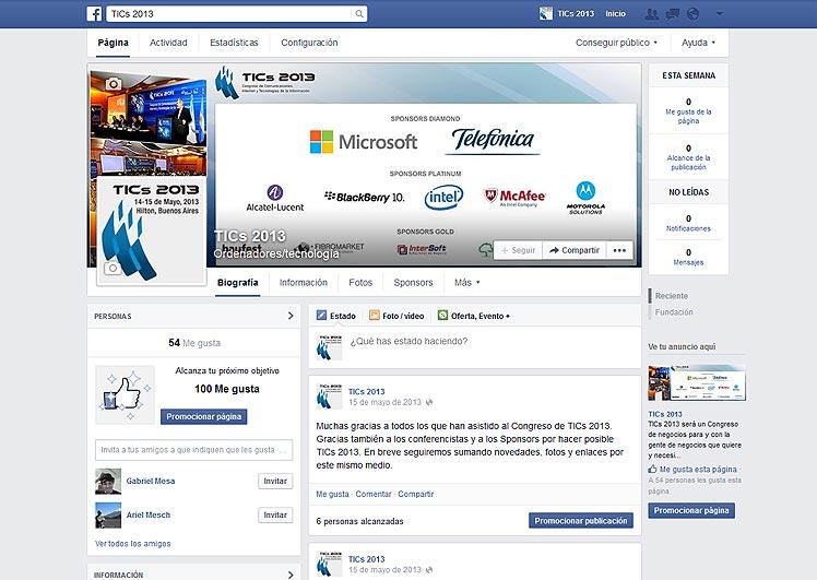 TICS 2013 en FB